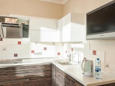 боковые панели кухни выполнены из фасадных материалов