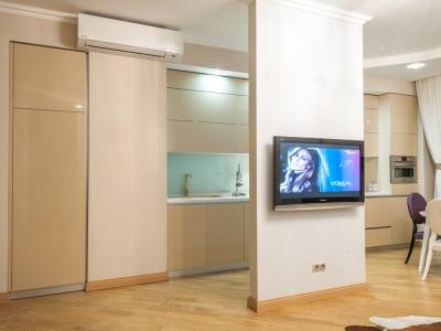 кухня полностью встроена в помещение