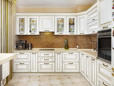Основная часть кухни полностью симметрична относительно вытяжки, скрытой внутри ящика.