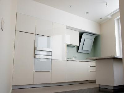 Кухня  выполнена в варианте полного встраивания в помещение
