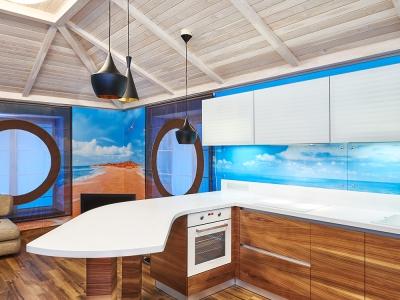 островная барная часть -главное украшение кухни