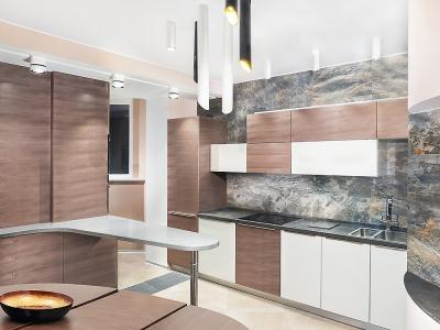 Компоновка кухни включает в себя  линейную часть с варочной панелью, барную зону, к которой примыкает  замаскированная часть с бытовой техникой