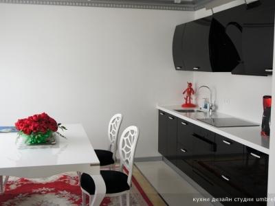 основные цвета интерьера- черный, cерый и ярко-красный