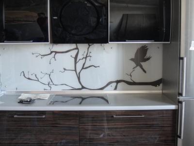 на панель из стекла нанесен печатный рисунок