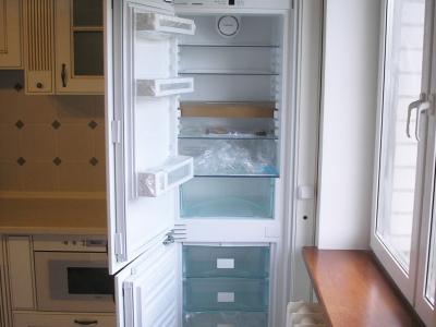 Встроенный холодильник незаменим для  планировки строго классического стиля