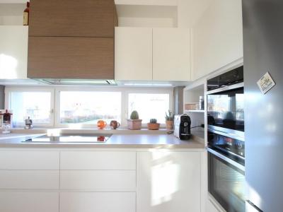 Вытяжка кухни встроена в верхний ящик кухни, что поддерживает дизайнерский  стиль кухни