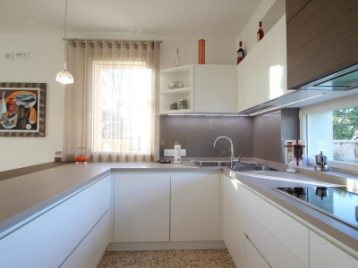 Каменная столешница кухни со стеновой панелью поддерживают необходимую роскошь