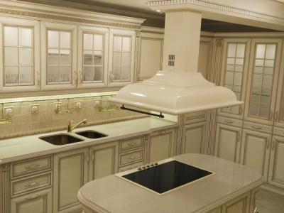 Остравная кухня массив ясеня с отделкой патиной шампань