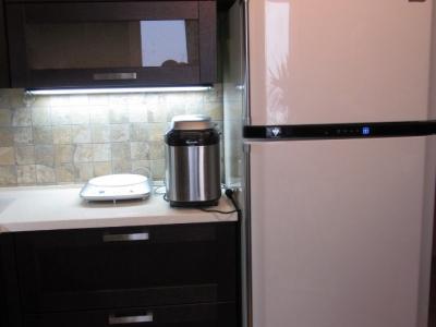 у холодильная просторная морозильная камера располагается сверху
