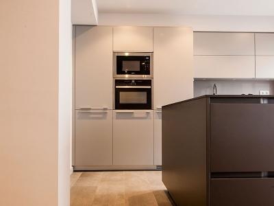 монохромно пастельные тона фасадов кухни