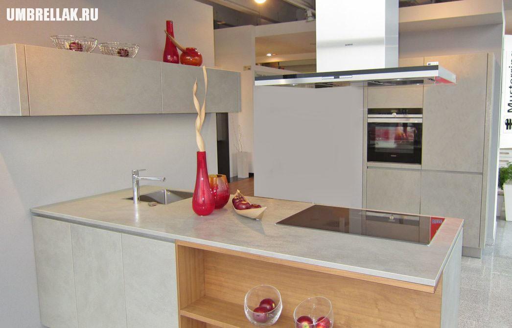 Кухня с керамическими фасады beton pietra new 2017