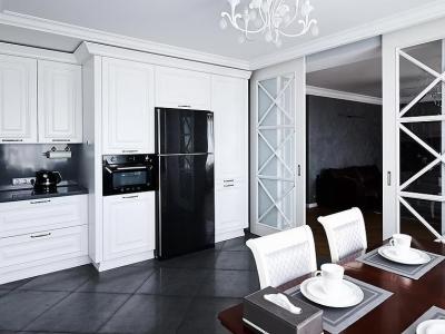 Кухня относится к стилю современной классики в которой установлена современная бытовая техника