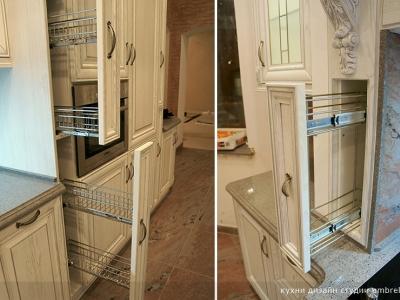 потайные корзины карго в опорах портала кухни