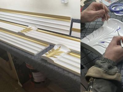Для создания золочения декоров (непрерывных линий!) используется ручная работа мастера