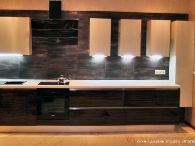 верхние шкафы выполнены в раздельном варианте с подсветкой