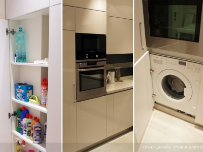 встраиваемая стиральная машина и ящик для бытовой химии