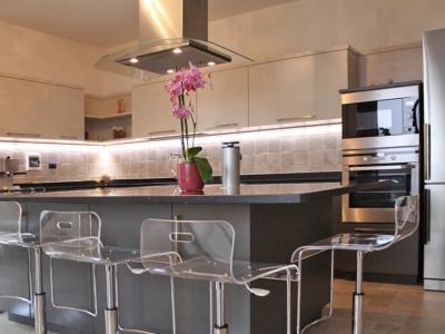 Графитовые фактуры тонированного шпона дерева в комбинации со светлыми тонами придают кухни  нужный дизайнерский стиль